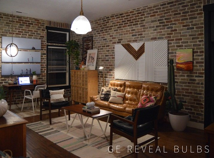 Loft Living Room Makeover Before and After vintagerevivals.com