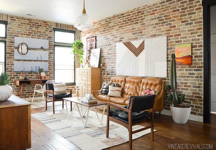 Loft living room entryway makeover reveal vintage for Loft living room ideas