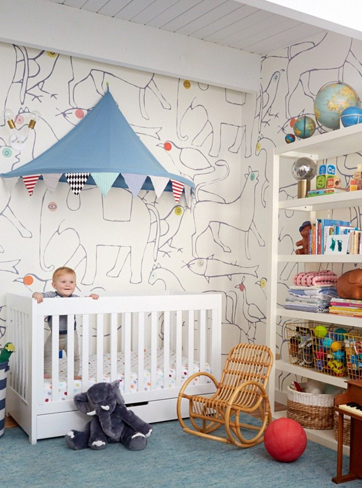 Charlie_In_Crib_Nursery_fit_pregnancy_blue_white_Minakani_wallpaper_emily_henderson.  LOVING This Rustic Nursery ...