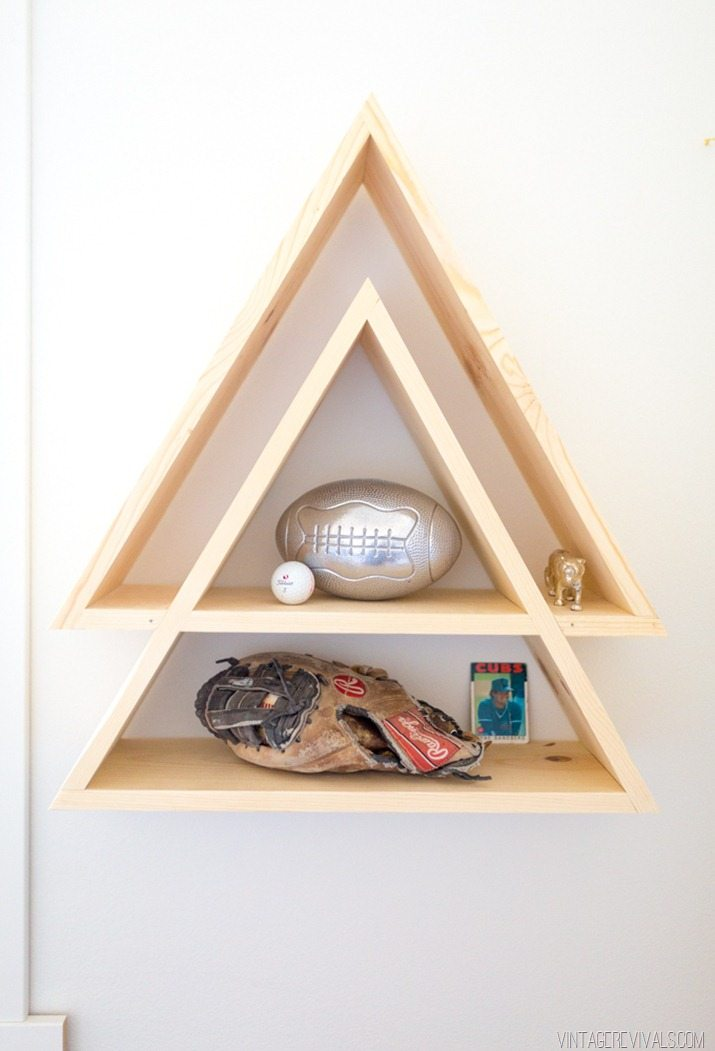 Baby boy nursery reveal vintage revivals - Triangular bookshelf ...