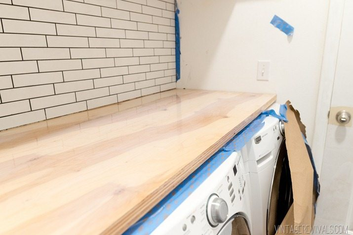 Diy Waterfall Playwood Countertop 1 2 Laundry Room