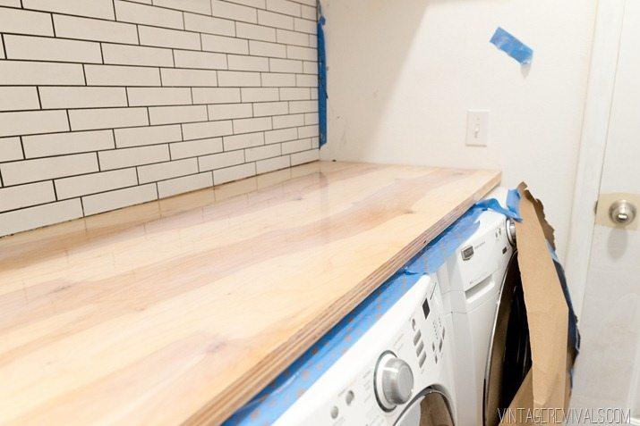 DIY Waterfall Playwood Countertop 1 2