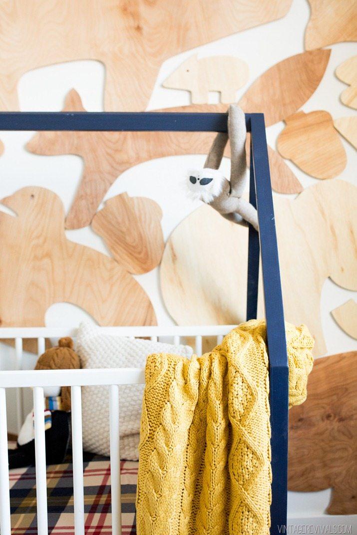Baby Boy Nursery-House Frame Crib Wooden Animal Wall Treatmentjpg