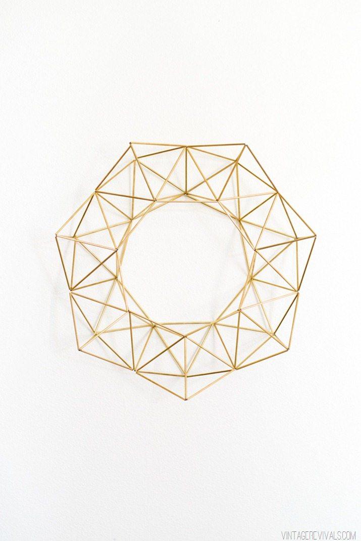 Geometric Brass Wreath VintageRevivals.com