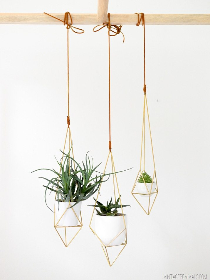 Geometric Brass Hanging Planter DIY  vintagerevivalsshop.com-2