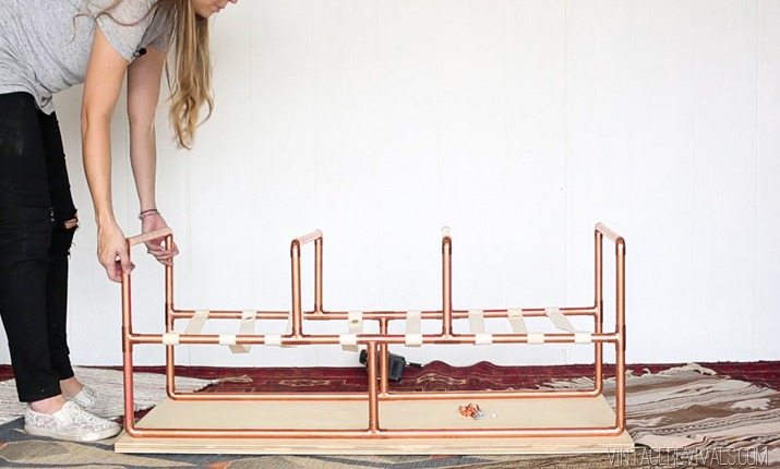DIY Copper Sling Coffee Table Vintagerevivals.com 19