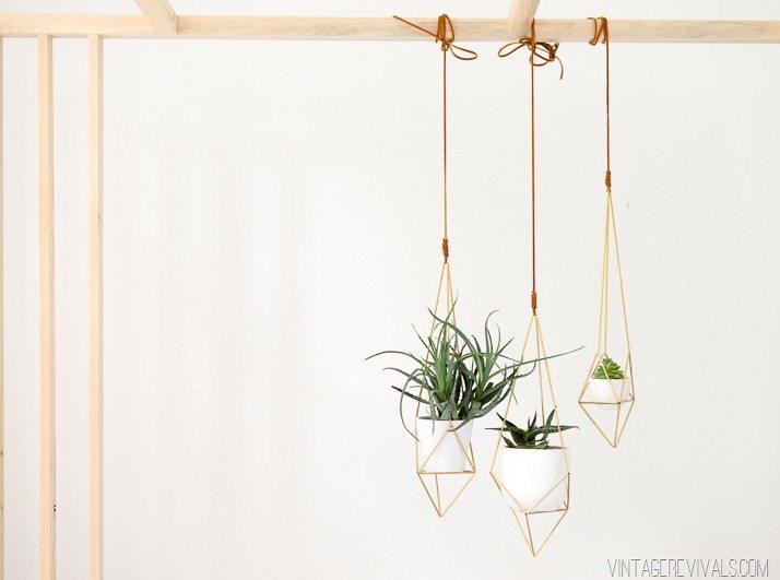 Geometric Brass Hanging Planter DIY  vintagerevivalsshop.com-4