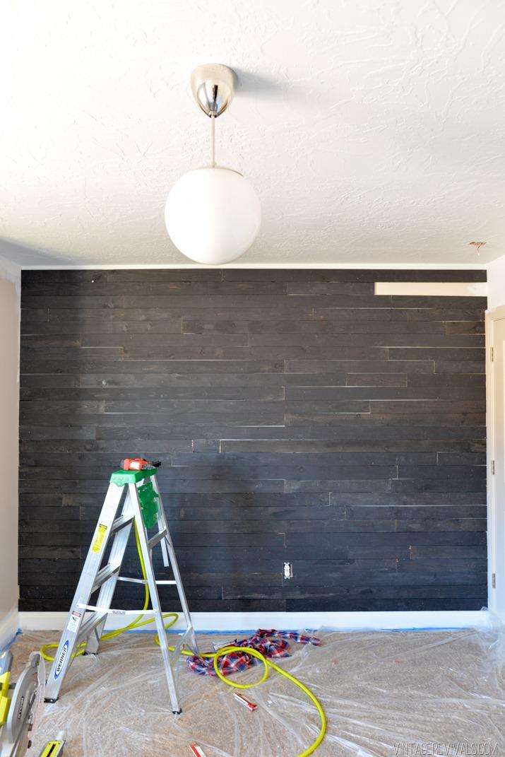 Black Shiplap Plank Wall