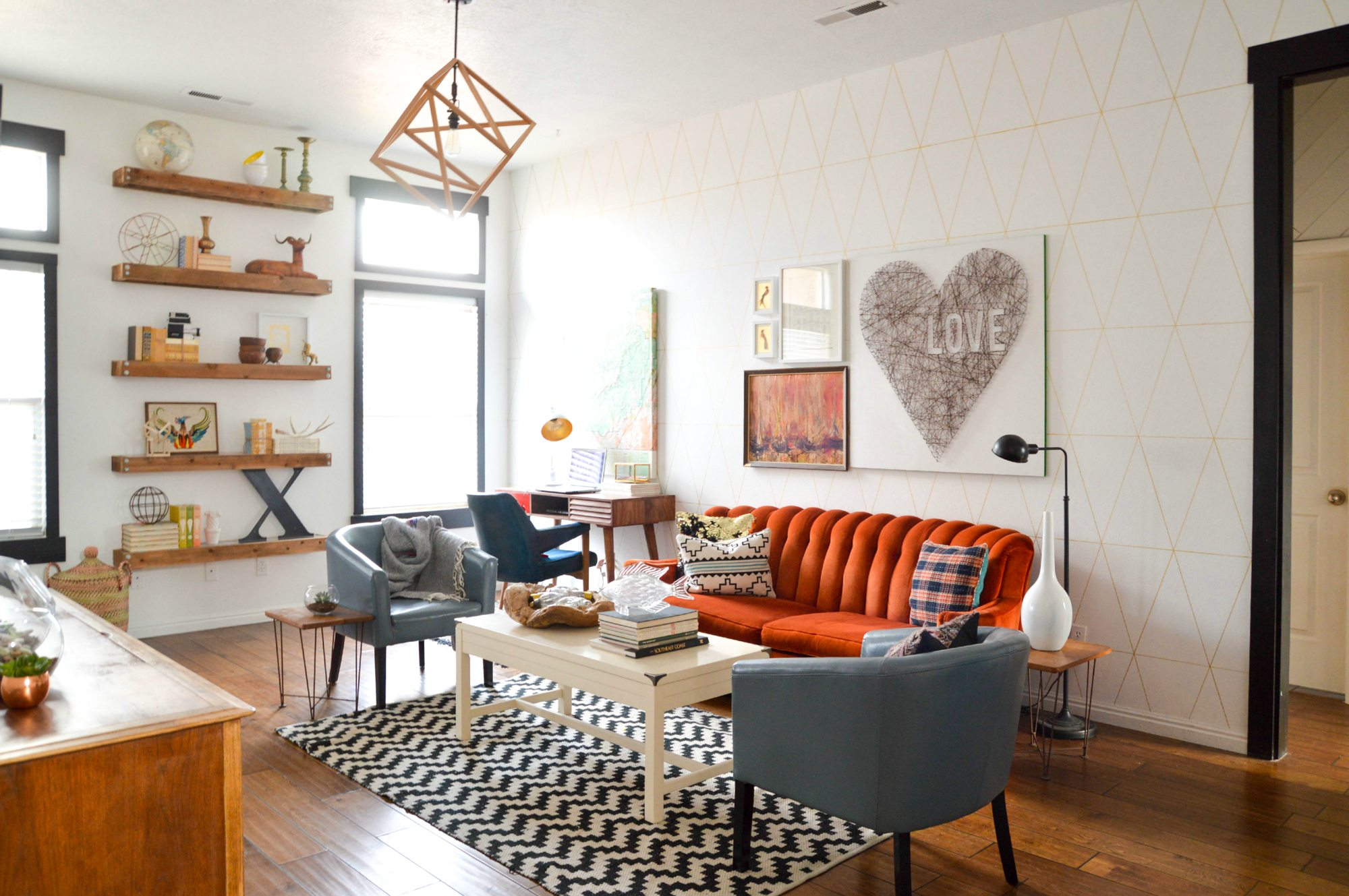 Colorful Geometric Living Room Makeover