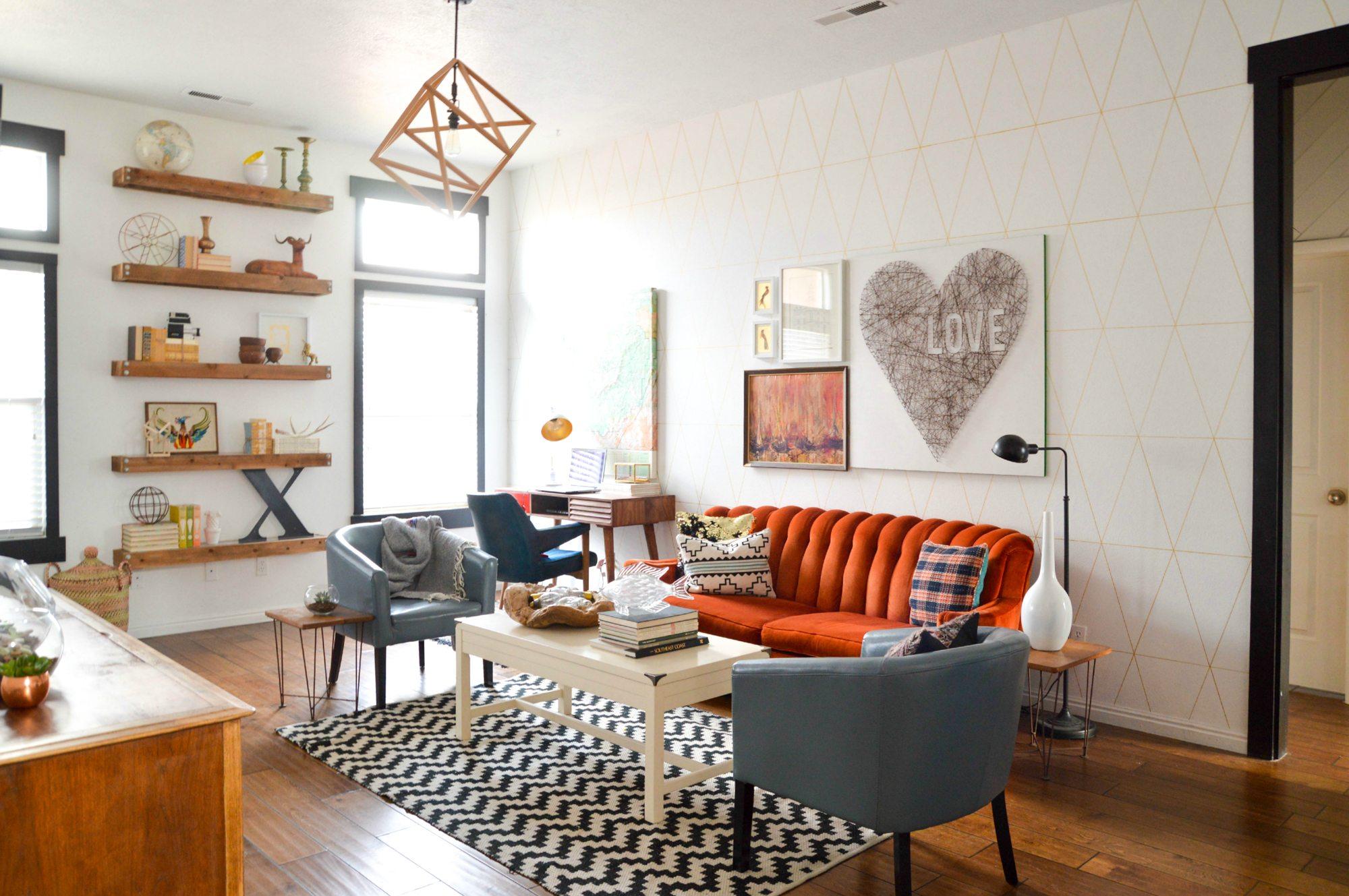 Colorful Geometric Living Room Makeover • Vintage Revivals