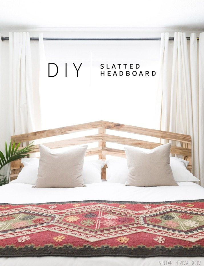 DIY $70 Slatted Headboard