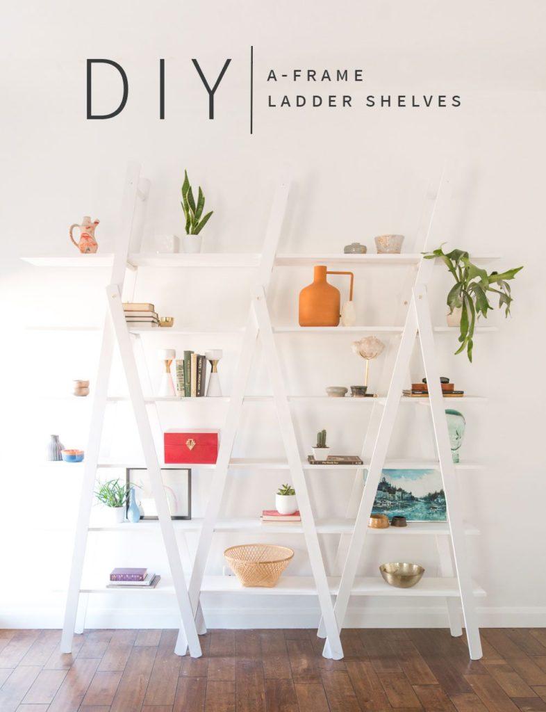 DIY-A-Frame-Ladder-Shelves-Vintage-Revivals