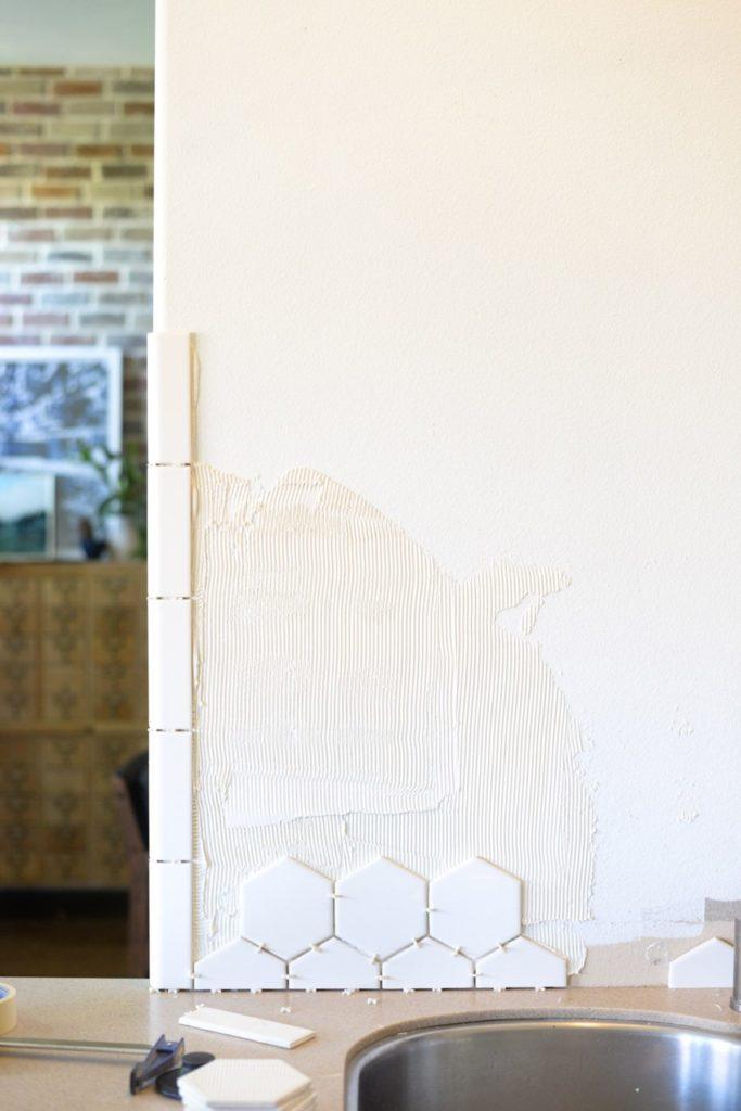 White Hexagon Tile Backsplash-4