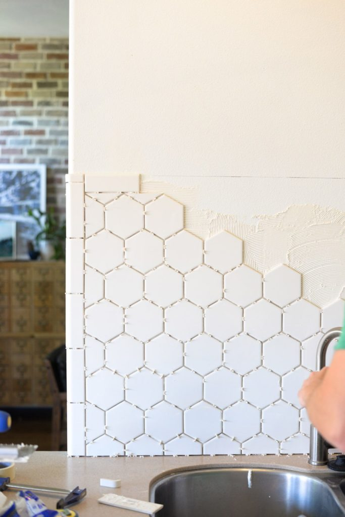 White Hexagon Tile Backsplash 6