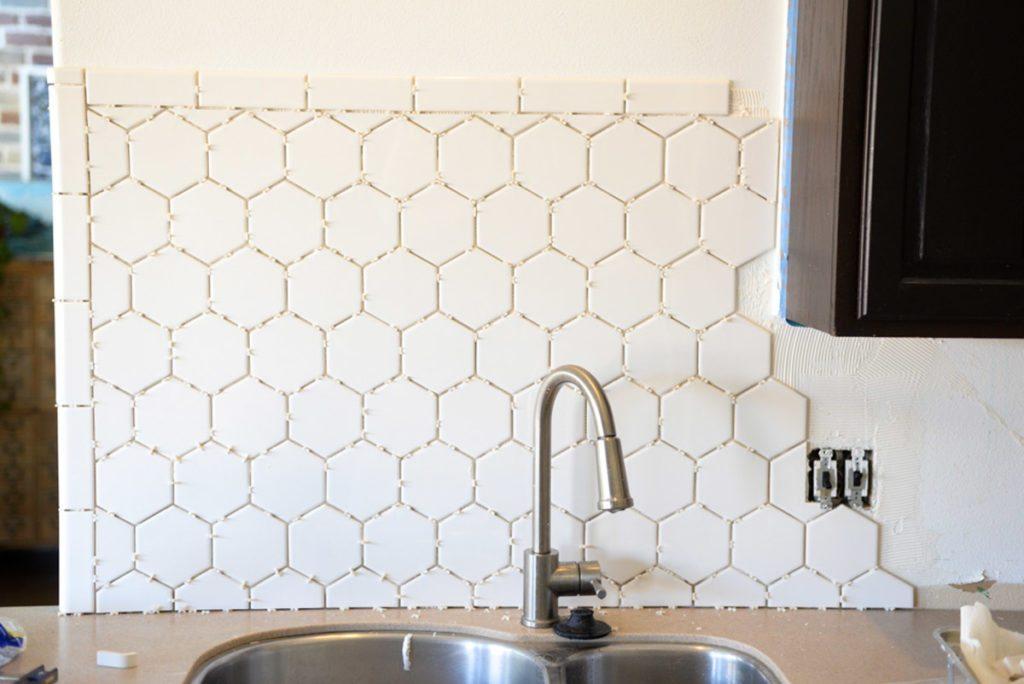 White Hexagon Tile Backsplash-8