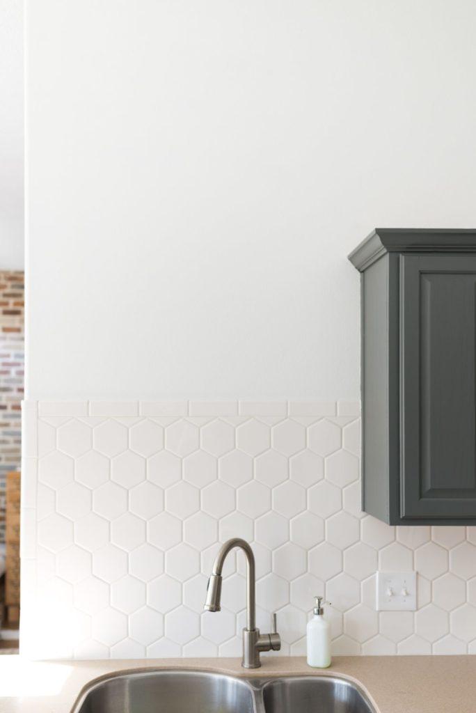 White Hexagon Tile with White Grout Backsplash DIY