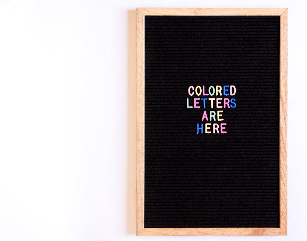 new colored letter board letters letter boards are back vintage revivals. Black Bedroom Furniture Sets. Home Design Ideas