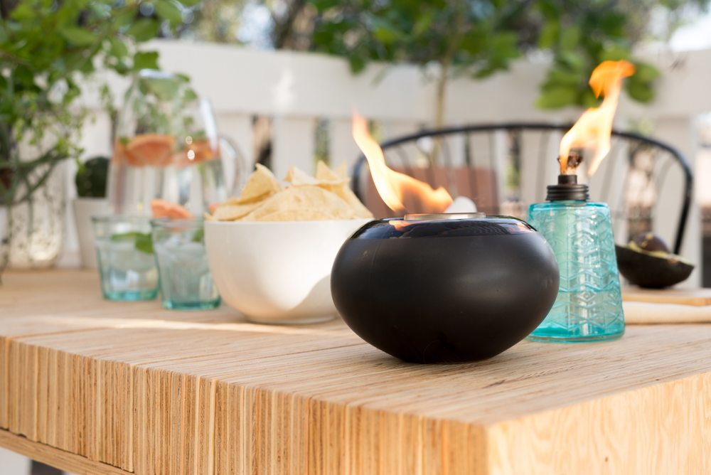 The Feature Of The Space Is TIKI Brandu0027s New Clean Burn Tabletop System.  The Vessel Itself Is AMAZING. The Black Is So On Trend And Will Go With  Everything!