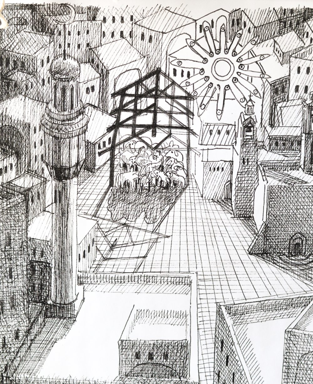 Close Up of Black and White Nativity Print