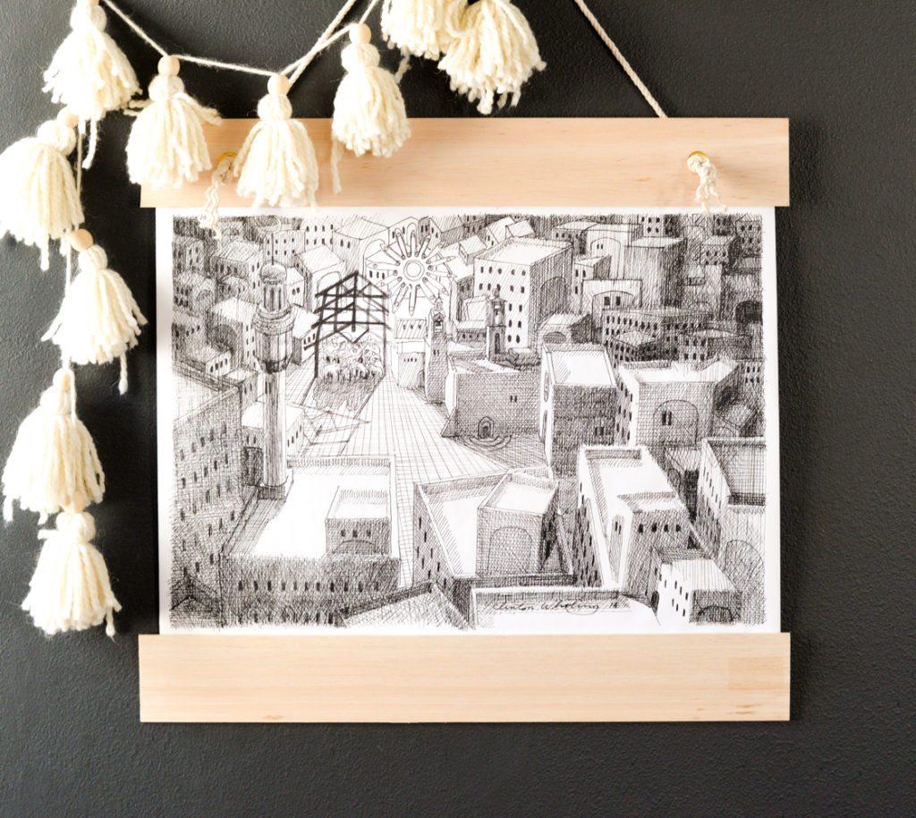 Hanging Black and White Nativity Print