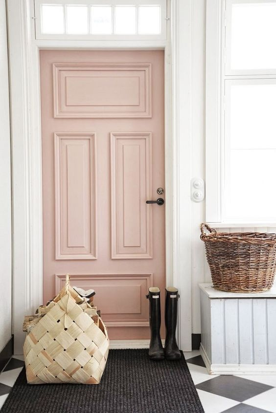 Soft Blush Pink Door with Heavy Moulding and Source for Purchasing