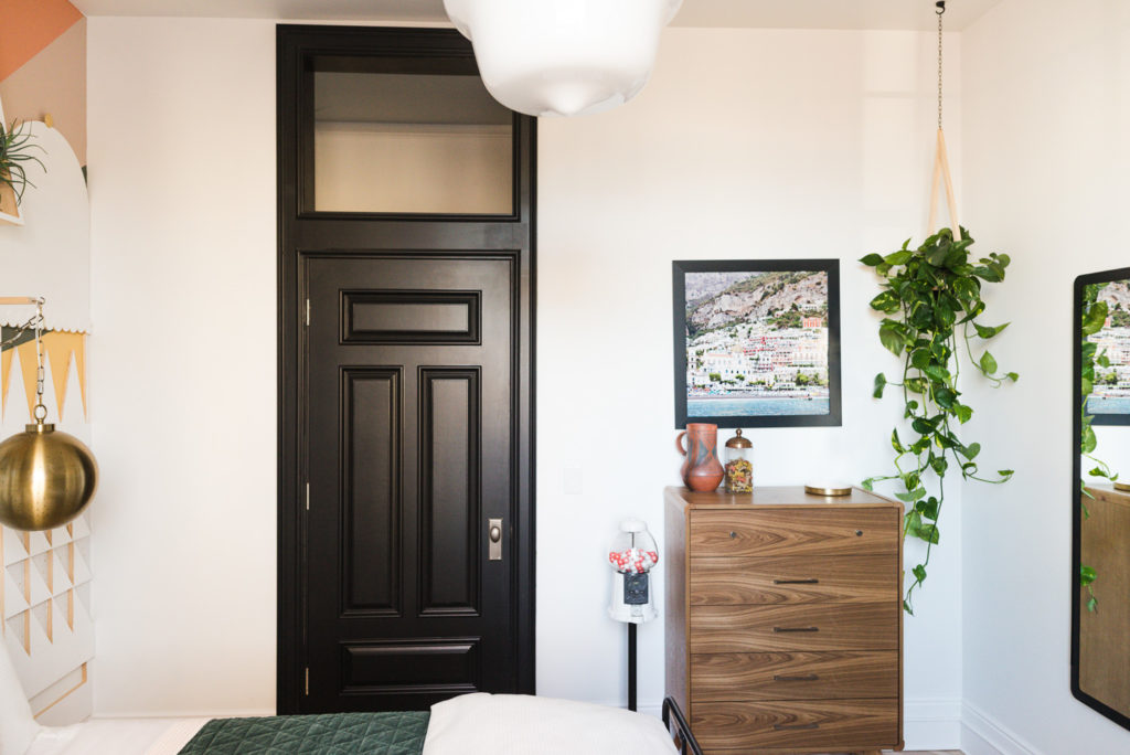Black Interior Door with Transom and Heavy Moulding
