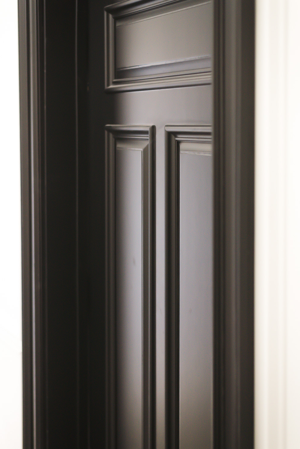 Black Interior Door from Home Depot with Heavy Moulding