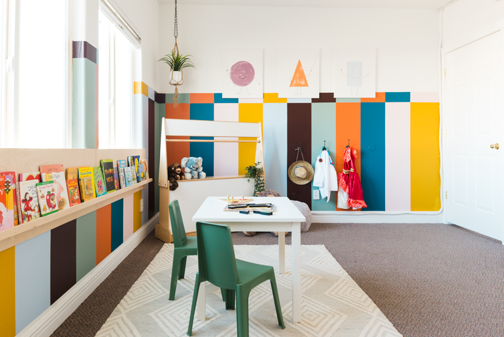 Colorful Kids Playroom Makeover! Complete With Rainbow Stripes, Vintage  Wooden Play Furniture, And