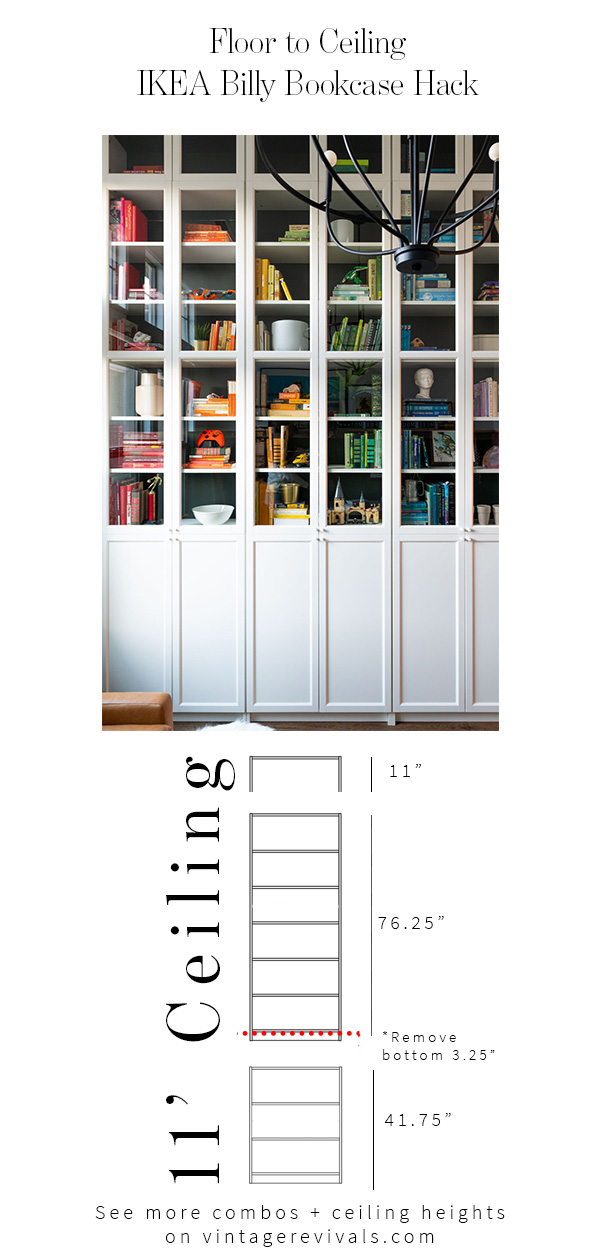Floor To Ceiling Built In Bookcases The Ultimate Ikea Billy Bookcase Hack